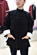 Load image into Gallery viewer, Black Wudang Winter Coat with Straight Frog Buttons and White Sleeves Outer Seam