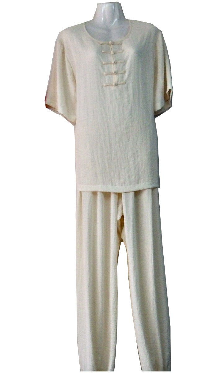 White Hemp and Linen Wudang Tai Chi Uniform with Short Sleeves and 5 Frog Buttons
