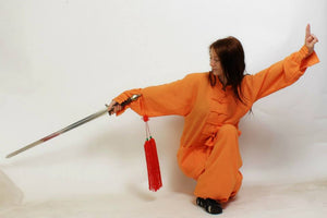 Orange Shaolin Style Hemp and Linen Wudang Tai Chi Uniform with Cuffs for Men and Women