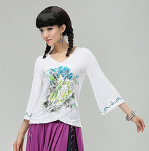 Load image into Gallery viewer, Commoner National Wind Ladies V-neck Slim Cotton Printed Short Sleeve Shirt