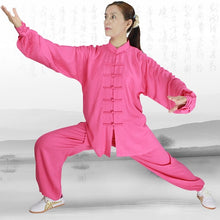 Load image into Gallery viewer, Candy Pink Hemp and Linen Wudang Tai Chi Uniform with Cuffs for Women
