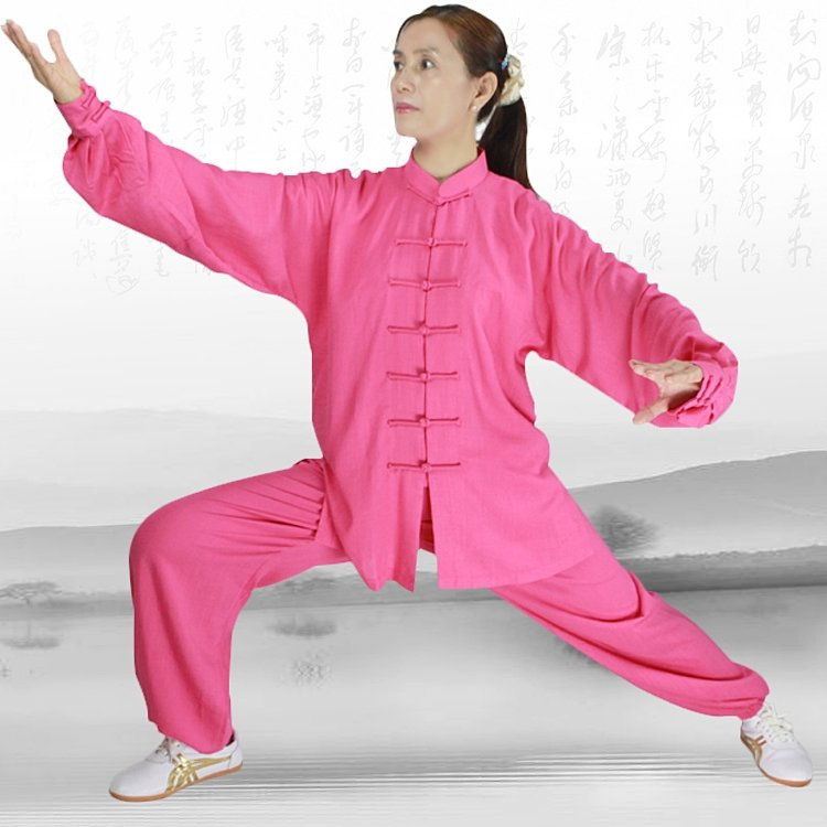 Candy Pink Hemp and Linen Wudang Tai Chi Uniform with Cuffs for Women