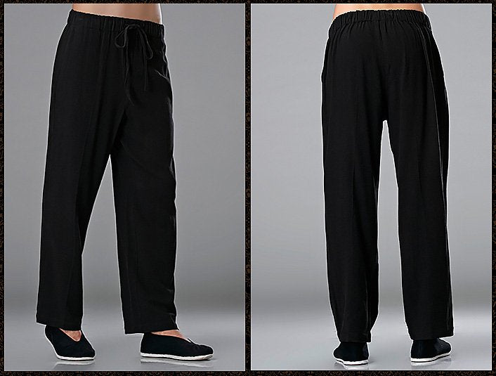 Black Commoner Chinese Tai Chi Kung Fu Pants