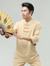 Load image into Gallery viewer, Yellow Commoner Chinese Men Casual Han Chinese 3/4 Sleeve Shirt