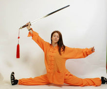 Load image into Gallery viewer, Orange Shaolin Style Hemp and Linen Wudang Tai Chi Uniform with Cuffs for Men and Women