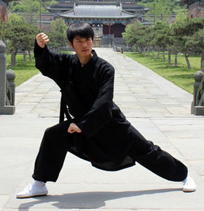 Black Traditional Taoist Hemp and Linen Wudang Tai Chi Uniform Open Arms for Men and Women