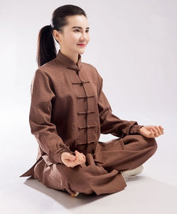 Light Brown Hemp and Linen Wudang Tai Chi Uniform with Cuffs for Men and Women
