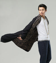 Load image into Gallery viewer, Black Chinese Men's National Wind Commoner Cloak Windbreaker