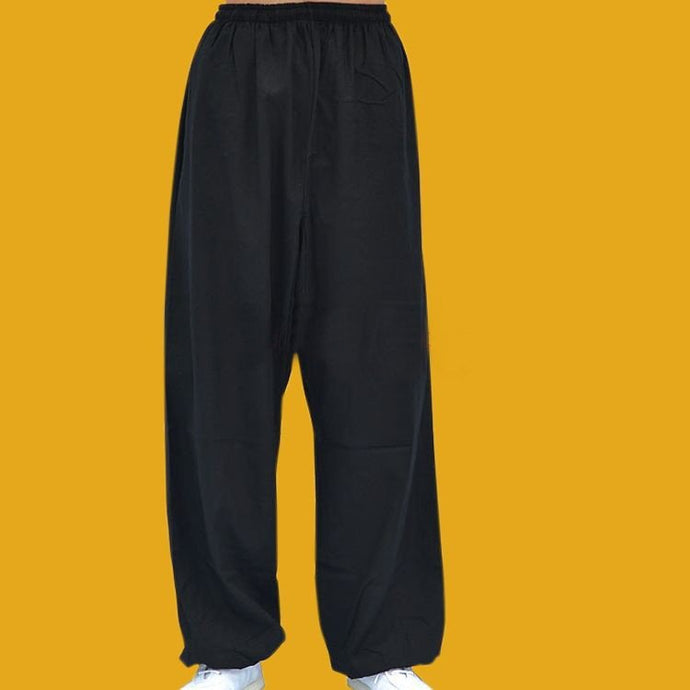 Black Basic Hemp and Linen Tachi or Kung Fu Pants