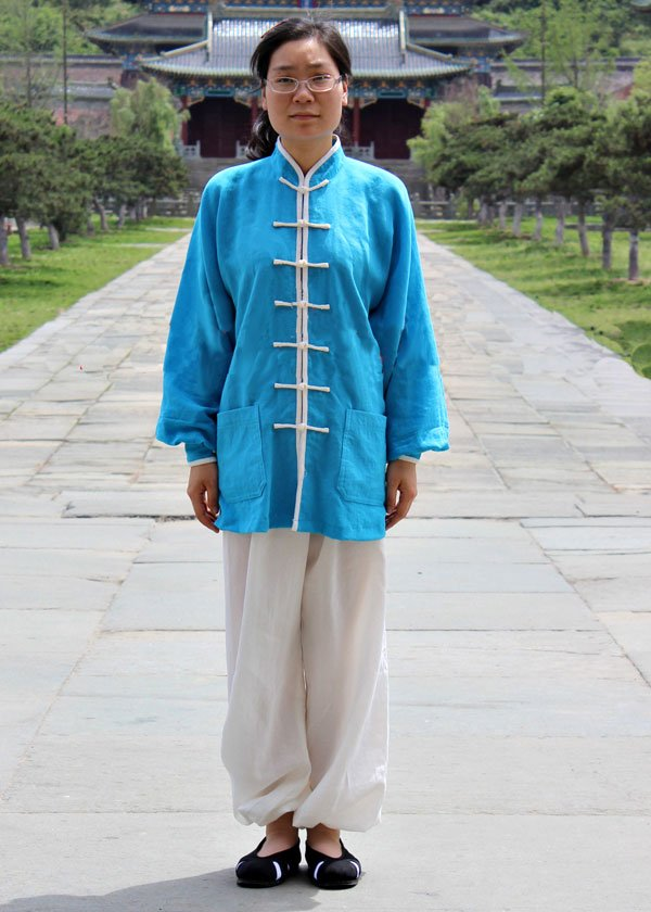 Blue & White Hemp-Linen Wudang Tai Chi Suit for Men and Women