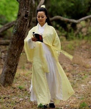 Load image into Gallery viewer, Tender Yellow Chiffon Wudang Taoist Overcoat for Men and Women