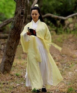 Tender Yellow Chiffon Wudang Taoist Overcoat for Men and Women