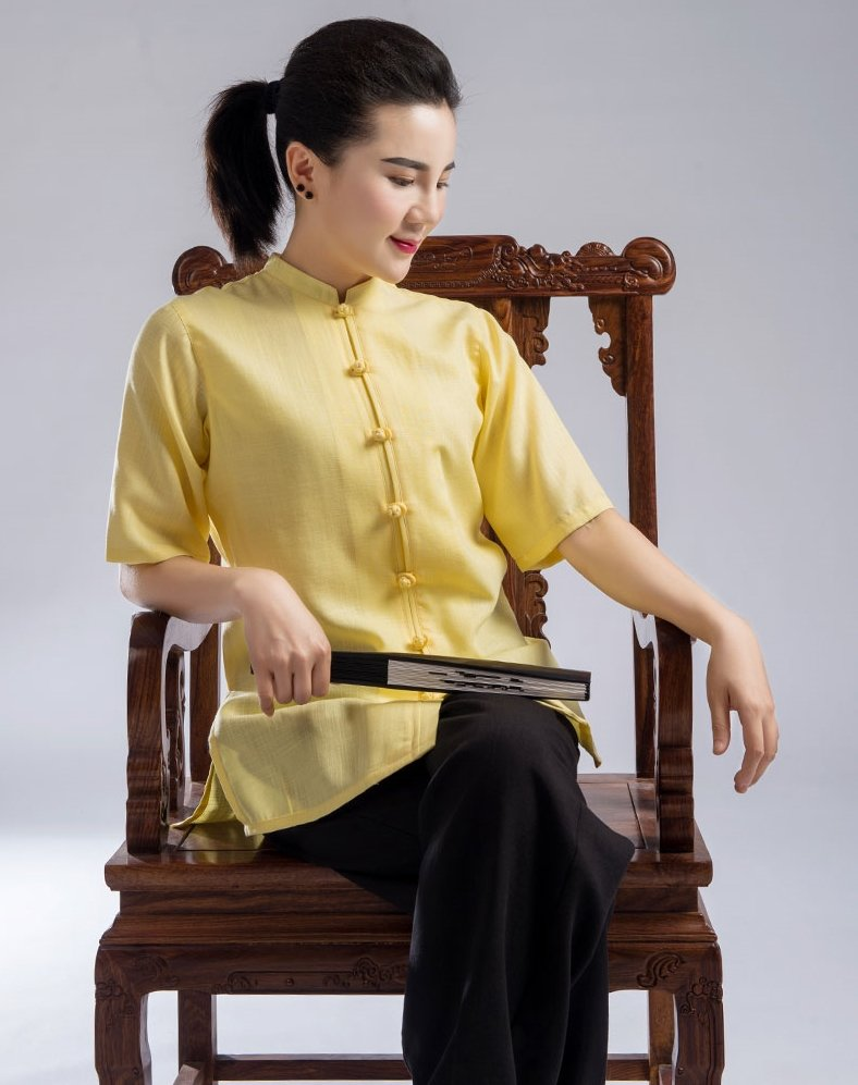 Black & Yellow Hemp and Linen Wudang Tai Chi Summer Clothing with Short Sleeves and Small Buttons