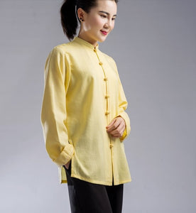 Black & Yellow Hemp and Linen Wudang Small Buttons Tai Chi Clothing with Open Arms for Men and Women