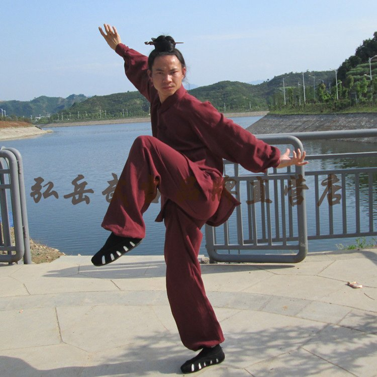 Maroon Hemp and Linen Wudang Tai Chi Uniform with Cuffs for Men and Women
