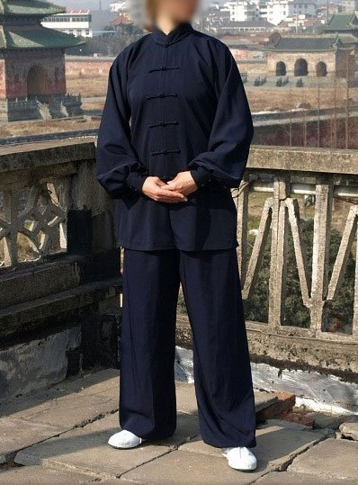Navy Blue Wudang Tai Chi Durable Material Uniform with Cuffs for Men and Women