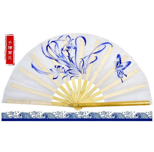 Hand-Painted Tai Chi Fan Iris & Butterfly