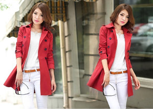 Red Waterproof Rain Trenchcoat Korean Fashion Designer