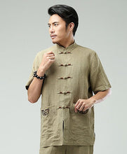 Load image into Gallery viewer, Beige Commoner Chinese Men Casual Han Chinese Shirt