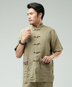 Beige Commoner Chinese Men Casual Han Chinese Shirt