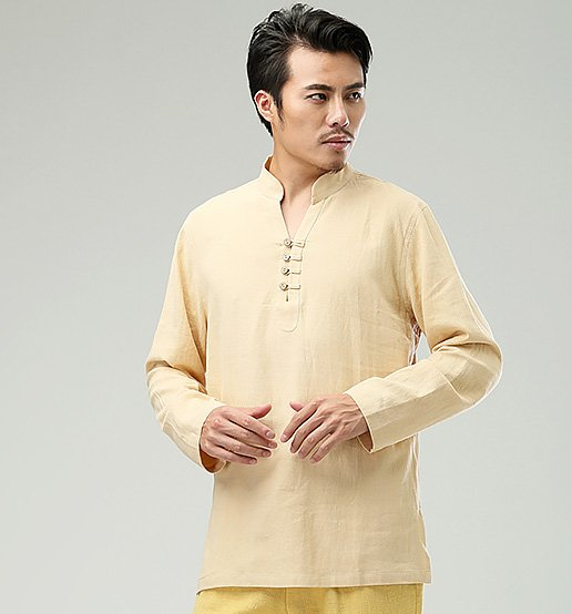 Yellow Commoner Chinese Style Men's Long-Sleeved Shirt