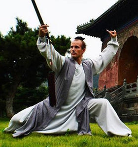 Sleeveless Grey Hemp and Linen Wudang Taoist Overcoat for Men and Women
