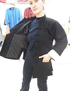 Black Wudang Winter Coat with Straight Frog Buttons and White Sleeves Outer Seam