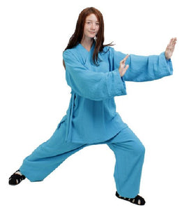 Azure Blue Hemp and Linen Wudang Tai Chi Uniform Open Sleeves for Men and Women