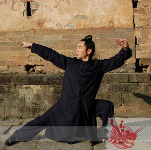 Wudang Long Winter Coat, Black, Navy Blue or White
