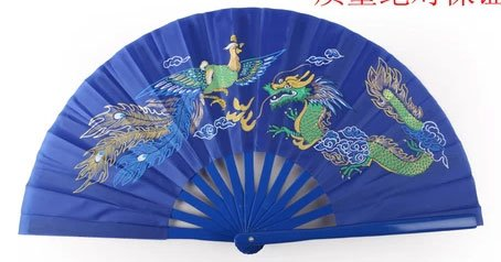 Tai Chi Fan Dragon & Phoenix Blue