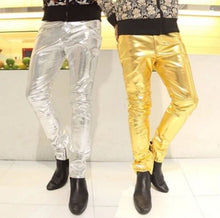 Load image into Gallery viewer, Sexy Men Leather Dancing Pants In Gold, Silver, Black
