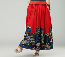 Load image into Gallery viewer, Red Retro Women's Casual Cotton Pleated Skirt