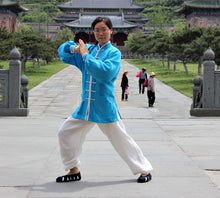 Load image into Gallery viewer, Blue & White Hemp-Linen Wudang Tai Chi Suit for Men and Women