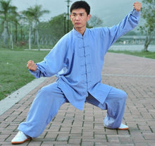 Load image into Gallery viewer, Light Blue Hemp and Linen Wudang Tai Chi Uniform with Cuffs for Men and Women