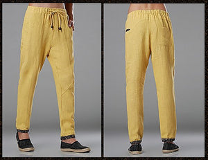Yellow Commoner Wind Cuffs Low-Crotch Carrot Pants