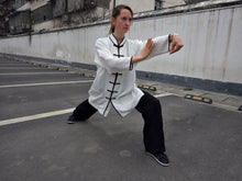 Load image into Gallery viewer, Hemp and Linen Wudang Black & White Tai Chi Suit 3/4 Sleeves for Men and Women