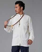 Load image into Gallery viewer, White Commoner Chinese Style Men's Shirt Casual Long-Sleeved