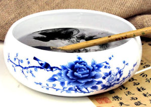 Calligraphy Brush Washing Cup Blue/White Peony
