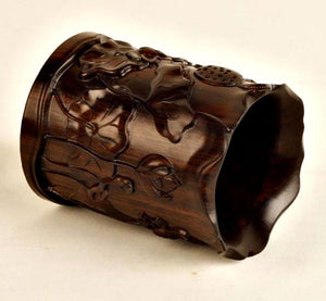 Handcarved Wooden Cup for Calligraphy Brushes