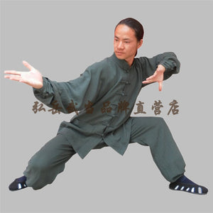 Petrol Hemp and Linen Wudang Tai Chi Uniform with Cuffs for Men and Women