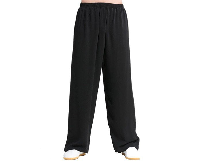 Black Tai Chi Pants Silk and Linen for Men and Women