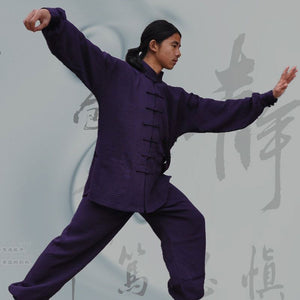 Purple Hemp and Linen Wudang Tai Chi Uniform with Cuffs for Men and Women