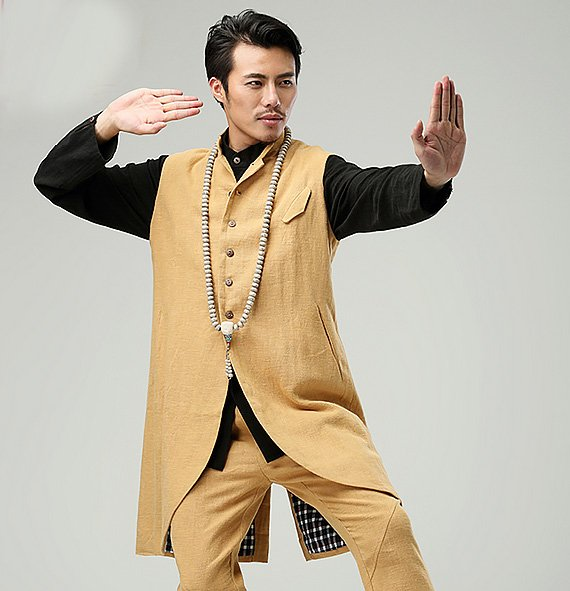 Yellow Commoner Chinese Style Men's Long Vest Jacket