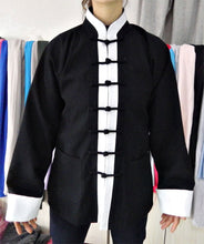 Load image into Gallery viewer, Black Hemp and Linen Wudang Tai Chi Shirt with Cuffs and White Outerlines for Men and Women