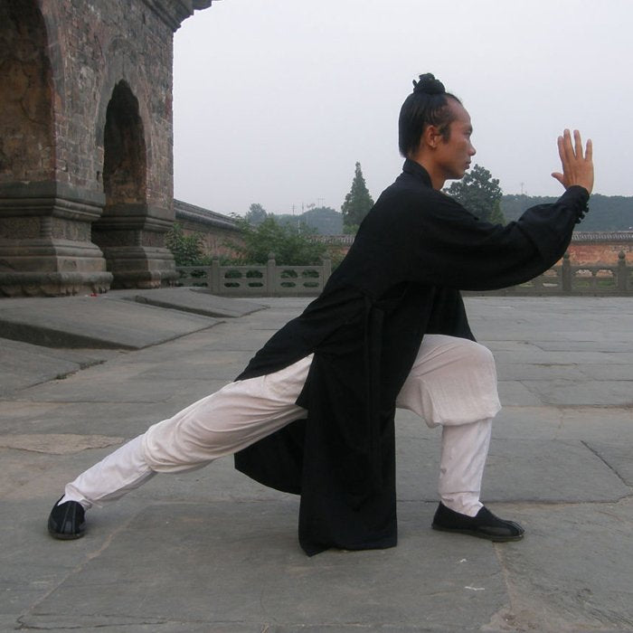 Black Traditional Taoist Hemp and Linen Wudang Tai Chi Uniform Closed Arms for Men and Women