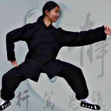 Load image into Gallery viewer, Black Hemp and Linen Wudang Tai Chi Uniform with Open Arms for Men and Women