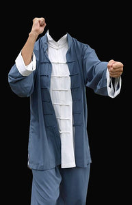 Blue Ip Man Style Wing Chung Kung Fu Suit with White Cuffs