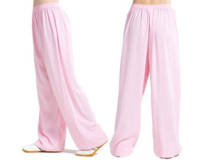 Pink Tai Chi Pants Silk and Linen for Men and Women