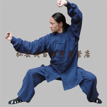 Load image into Gallery viewer, Navy Blue Hemp and Linen Wudang Tai Chi Uniform with Cuffs for Men and Women