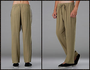 Beige Commoner Chinese Tai Chi Kung Fu Pants